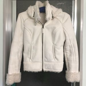 Guess Faux-Shearling Winter Bomber-Inspired Coat
